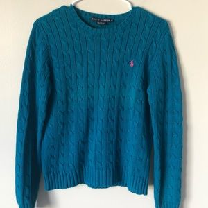 Ralph Lauren teal cable sweater